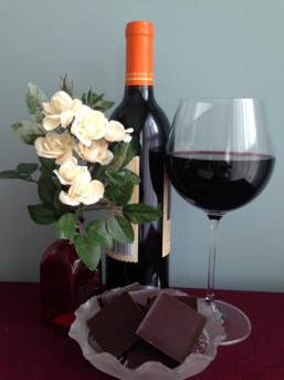 Photo of red wine and dark chocolate
