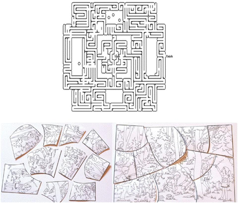 Materials used as the persistence tests: the labyrinth puzzle from Experiment 1
