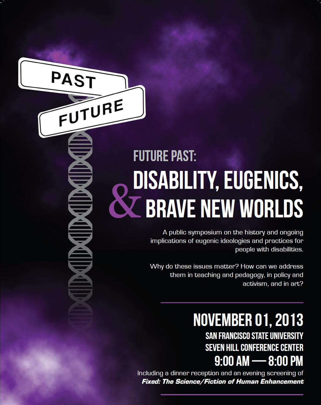 An event poster for Future Past in 2013 is shown, with purple clouds, and a DNA helix forms the base of a signpost with two directions: future and past.