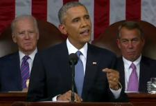 President Obama delivering his State of the Union speech in 2015